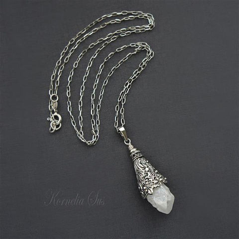 A,Piece,Of,Ice,|,SILVER,PENDANT,NECKLACE,With,QUARTZ,Silver Pendant Necklace With Quartz, buy handmade jewellery