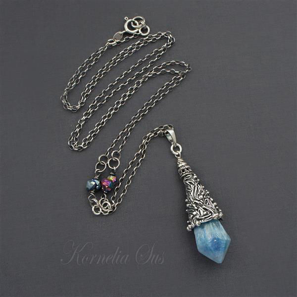 Blue Silence |  Silver Blue Quartz Necklace - product images  of
