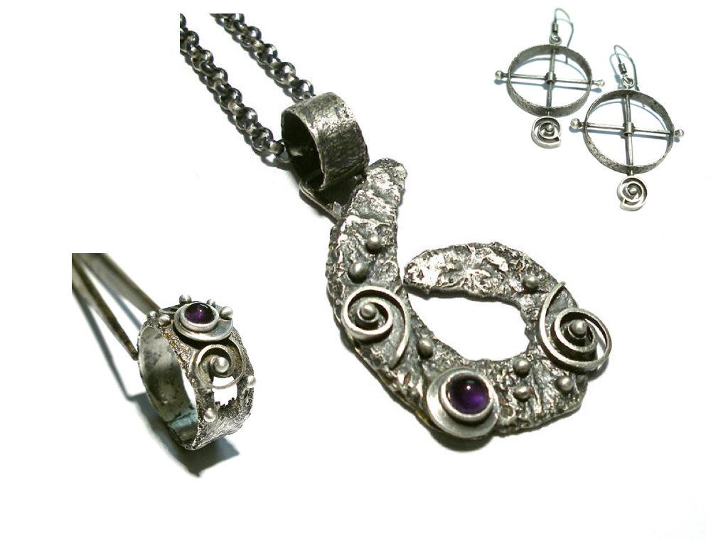 silver amethyst jewellery set jewellery online store