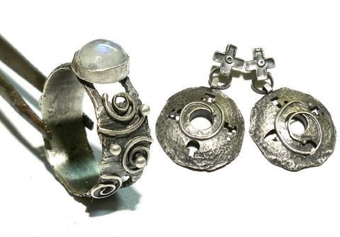 Kareen,|,SILVER,TWO,PIECES,JEWELLERY,SET,Silver Two Pieces Jewellery Set, silver handmade jewellery, norman man