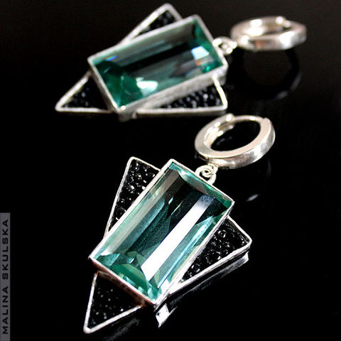 Green,Amethyst,&,Sting,Ray,Leather,Earrings,Green Amethyst & Sting Ray Leather Earrings, unique handmade jewellery