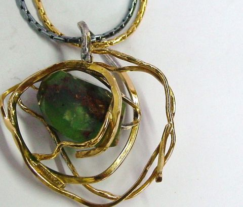 IM,IX,|,GOLD,PLATED,SILVER,PENDANT,With,AGATE,Gold-plated Silver Pendant With Agate, unique handmade jewellery