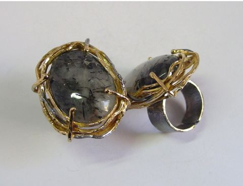 IM,XLI,|,SILVER,GOLD,PLATED,RING,With,RUTILATED,QUARTZ,Silver Gold Plated Ring With Rutilated Quartz, silver handmade jewellery