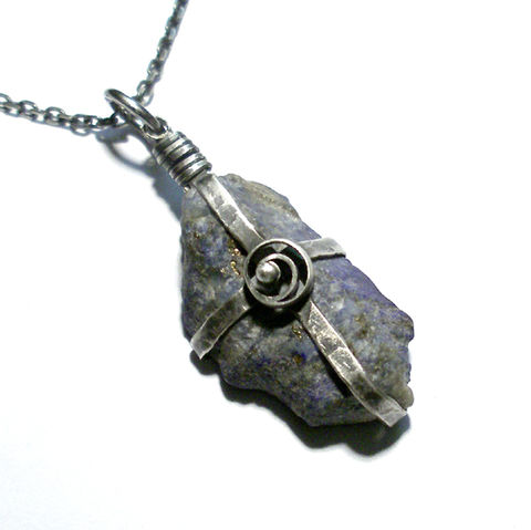 The,Mysterious,|,SILVER,PENDANT,With,ROUGH,LAPIS,LAZULI,Rough Lapis Lazuli Pendant, silver necklace, bespoke silver jewellery