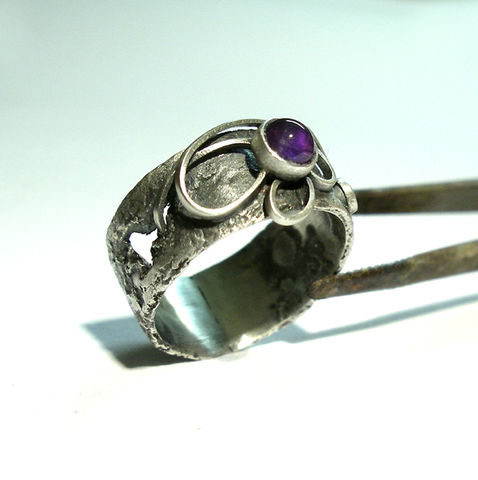 Ivy,|,SILVER,&,AMETHYST,BAND,RING,Amethyst Ring, silver band ring, handmade silver jewellery