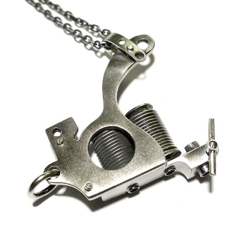 Tattoo,Gun,|,STERLING,SILVER,PENDANT,NECKLACE,Tattoo Gun Pendant, silver necklace, handmade unique jewellery