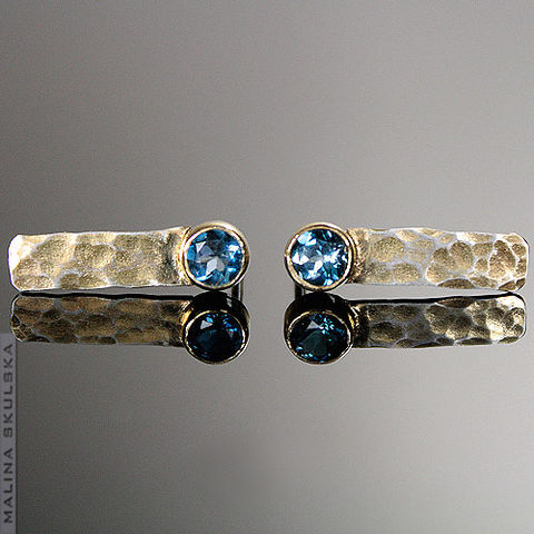 HAMMERED,GOLD-PLATED,STUD,EARRINGS,With,TOPAZ,Hammered Gold-plated Stud Earrings With Topaz, handmade jewellery