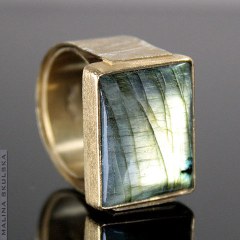 GOLD-PLATED,SIGNET,RING,With,LABRADORITE,Gold-plated Signet Ring With Labradorite, handmade jewellery