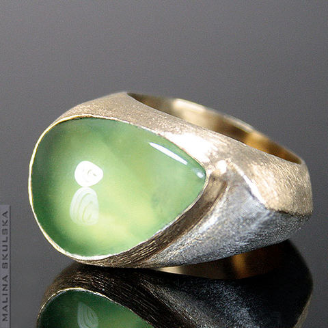 Silver,Signet,Ring,With,Prehnite,Silver Signet Ring With Prehnite, unique jewellery
