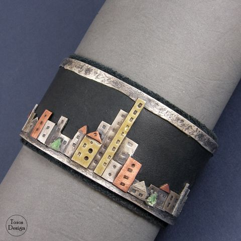 Escape,Out,Of,The,City,|,WIDE,SILVER,&,LEATHER,CUFF,BRACELET,Wide Silver & Leather Cuff Bracelet, unique designer jewellery