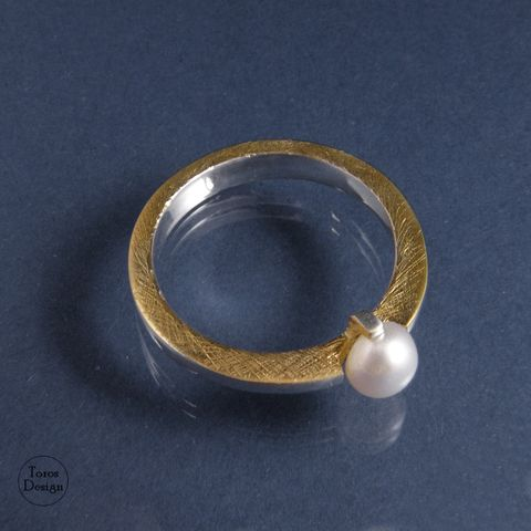 SOLITAIRE,RING,With,NATURAL,PEARL,Solitaire Ring With Natural Pearl, unique handmade jewellery