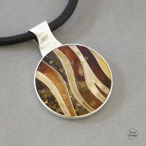 Meander,|,SILVER,AMBER,PENDANT,NECKLACE,Silver Amber Pendant Necklace, amber handmade jewellery