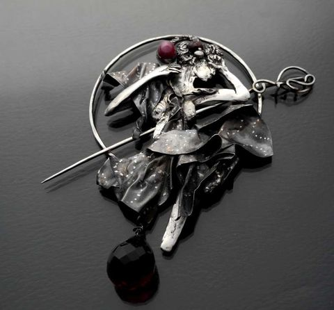 Evening,Star,By,ALFONS,MUCHA,|,SILVER,PIN,BROOCH,Evening Star By Alfons Mucha Silver Pin Brooch, handmade art jewellery uk