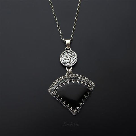 Aztec,Night,|,SILVER,PENDANT,NECKLACE,With,BLACK,ONYX,Silver Pendant Necklace with Black Onyx, bespoke silver jewellery