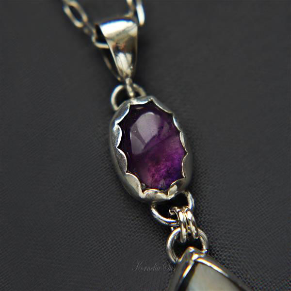 At The Bottom Of The River | SILVER PENDANT W LABRADORITE & AMETHYST - product images  of