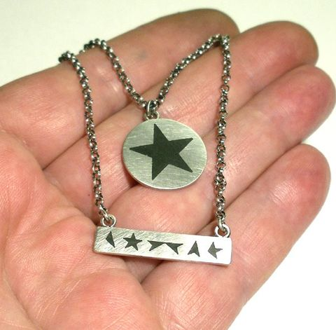 Black,Star,ENAMEL,SILVER,PENDANT,SET,Black Star Silver Pendant Set, black star pendant, unique jewellery online, David Bowie jewellery
