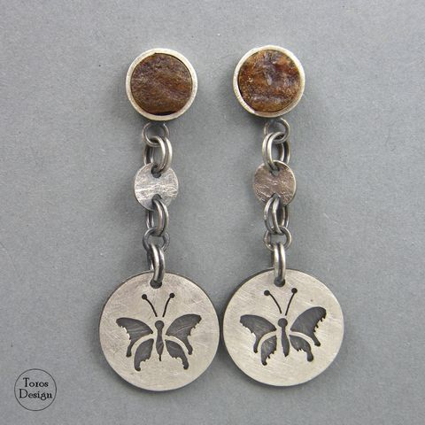 Butterfly,And,AMBER,|,SILVER,DANGLE,STUD,EARRINGS,Amber Silver Dangle Stud Earrings, unique handmade jewellery uk