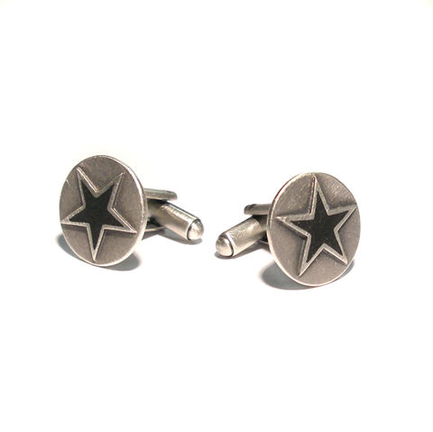 BLACK,STAR,|,STERLING,SILVER,&,ENAMEL,CUFFLINKS,Sterling Silver Cufflinks, enamel star cufflinks, David Bowie, Black Star, david bowie jewellery, rocker jewellery