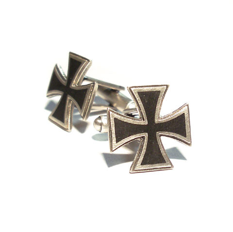 MALTESE,CROSS,|,STERLING,SILVER,&,Black,ENAMEL,CUFFLINKS,Iron Cross Silver Cufflinks, Silver & Enamel Cufflinks, iron cross, motorhead, biker jewellery, rocker jewellery