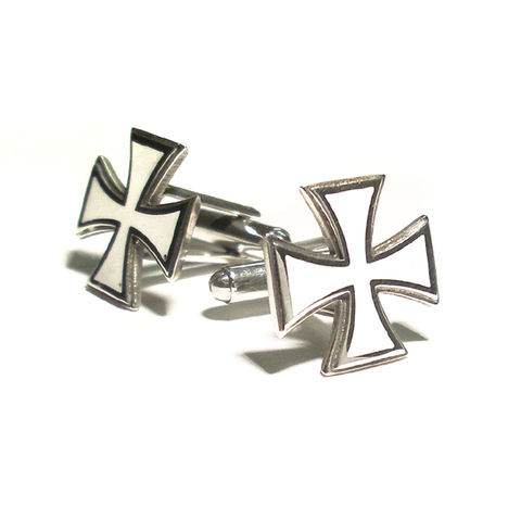 MALTESE,CROSS,|,STERLING,SILVER,&,White,ENAMEL,CUFFLINKS,Silver & Enamel Cufflinks, Iron Cross Silver Cufflinks, Iron Cross, biker jewellery, rocker jewellery