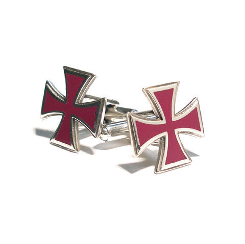 MALTESE,CROSS,|,STERLING,SILVER,&,Fuchsia,ENAMEL,CUFFLINKS,Iron Cross Cufflinks, Silver & Enamel Cufflinks, Iron Cross, Moorhead, biker jewellery, rocker jewellery