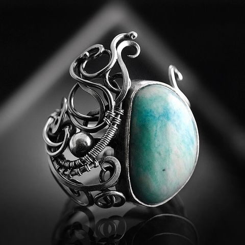 Aphrodite,|,SILVER,RING,With,RUSSIAN,AMAZONITE,Sterling Silver Ring With Amazonite, handmade jewellery uk, gemstone jewellery