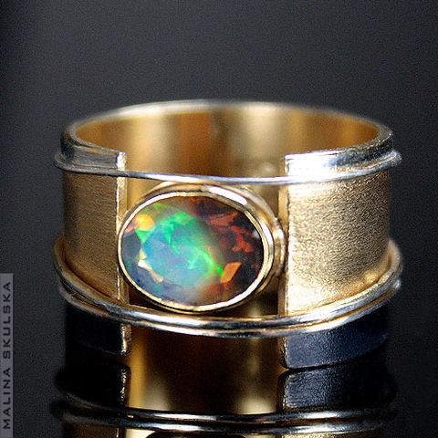 Tricolour,SILVER,RING,With,ETHIOPIAN,OPAL,Silver Ring With Ethiopian Opal, gold plated jewellery