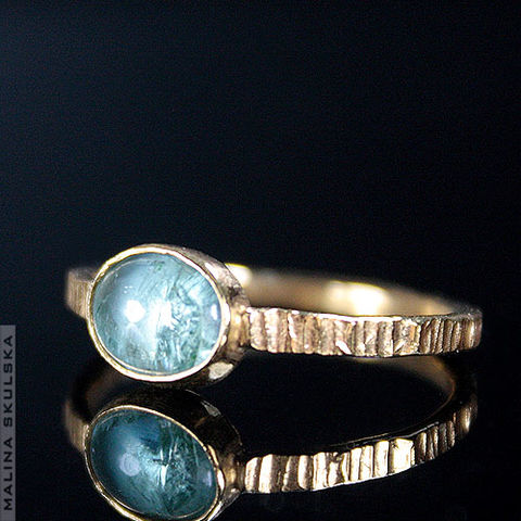 RIFFLED,GOLD,PLATED,SILVER,RING,With,AQUAMARINE,Riffled Gold Plated Gold Plated Ring With Aquamarine, silver handmade jewellery london