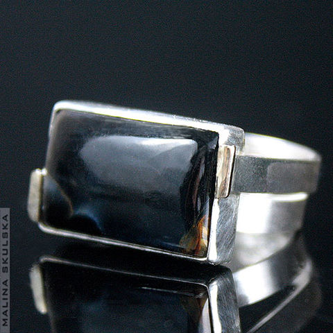 PIETERSITE,SILVER,&,GOLD,RING,Pietersite Silver Ring, luxury golden jewellery