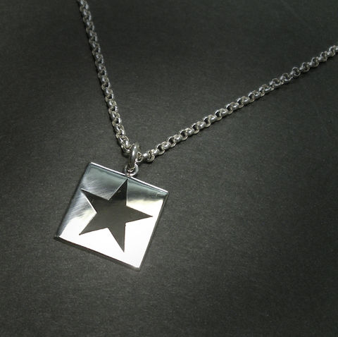 BLACK,STAR,|,POLISHED,SILVER,SQUARE,PENDANT,Polished Silver Square Pendant, black star, david bowie jewellery
