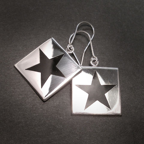 BLACK,STAR,|,POLISHED,SILVER,SQUARE,DANGLE,EARRINGS,Polished Silver Square Dangle Earrings, black star, david bowie jewellery