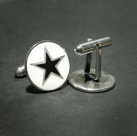 BLACK,STAR,|,ENAMEL,SILVER,CUFFLINKS,Enamel Silver Cufflinks, black star jewellery, David Bowie jewellery