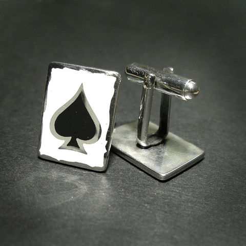 ACE,OF,SPADES,|,ENAMEL,SILVER,SQUARE,CUFFLINKS,Enamel Silver Cufflinks, ace of spades cufflinks, bespoke jewellery