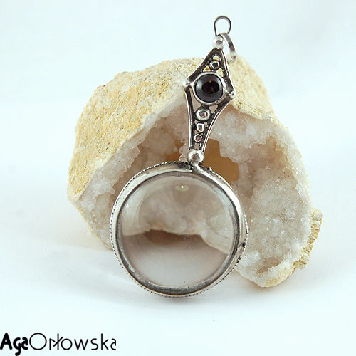 Magnifying glass silver pendant with garnet jewellery online magnifying glass silver pendant with garnet product images of mozeypictures Image collections