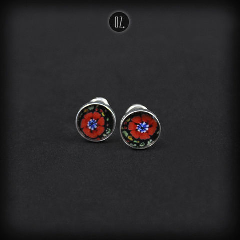 Mini,Poppy,Flower,|,SILVER,STUD,EARRINGS,Silver Stud Earrings, resin earrings, handmade jewellery store