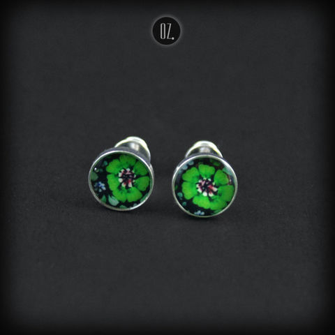 Mini,Clover,|,SILVER,STUDS,EARRINGS,Silver Stud Earrings, resin studs, handmade jewellery store