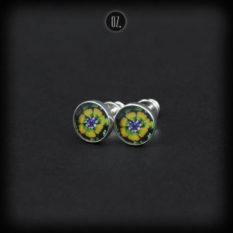 Mini,Neon,Flower,|,SILVER,STUD,EARRINGS,Silver Stud Earrings, resin silver studs, bespoke handmade jewellery