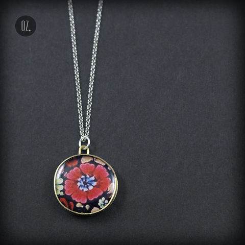 Summer,Poppy,Flower,|,BRASS,PENDANT,With,RESIN,Brass Pendant With Resin, bespoke jewellery london