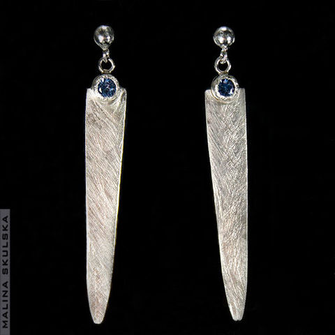 Icicles,|,SILVER,LONG,EARRINGS,With,ZIRCONS,Silver Long Earrings With Zircons, handmade silver jewellery