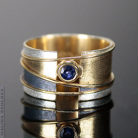 Tri-color,|,SILVER,&,SAPPHIRE,RING,Silver & Sapphire Ring, bespoke design jewellery
