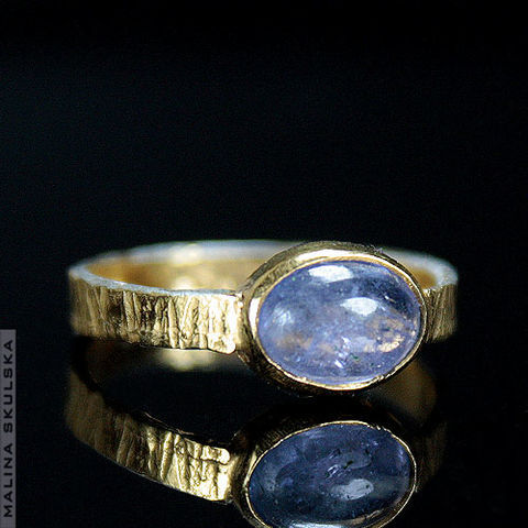 RIFFLED,GLIDED,With,TANZANITE,RING,Riffled Gilded With Tanzanite Ring, handmade jewellery uk