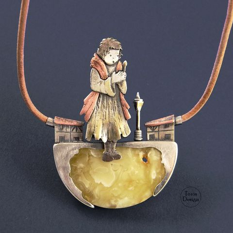 The,Little,Match,Girl,|,COPPER,&,SILVER,PENDANT,With,AMBER,Copper & Silver Pendant With Amber, sculptured jewellery