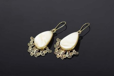 Spanish,Lace,|,SILVER,Earrings,With,White,Amber,SILVER Earrings With White Amber, amber jewellery