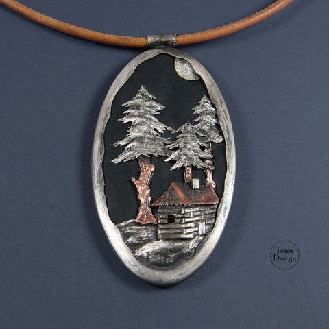 Forest,Landscape,|,SILVER,,COPPER,&,LEATHER,PENDANT,Silver Copper Pendant, leather pendant, unique silver jewellery