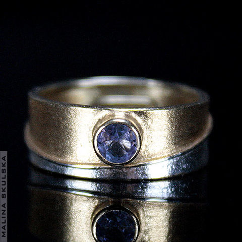Two-colour,SILVER,BAND,RING,With,TANZANITE,Silver Band Ring With Tanzanite, silver luxury jewellery