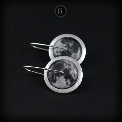 Circles,Full,Moon,Mini,|,Aluminium,&,Silver,Drop,Earrings,Circle Aluminium Earrings, silver drop earrings, handmade jewellery
