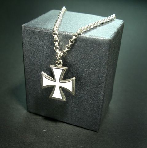 Maltese,Cross,|,Silver,Enamelled,Pendant,Silver Enamelled Pendant, maltese cross pendant, biker jewellery