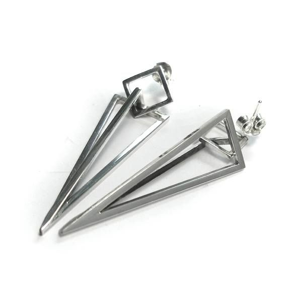 GEOMETRIC | PYRAMID DANGLE STUD EARRINGS - product images  of