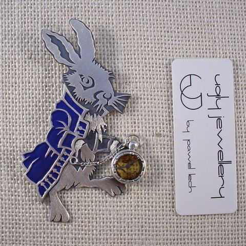 Follow,The,White,Rabbit,,Alice,|,SILVER,&,AMBER,PENDANT,With,BLUE,ENAMEL,Silver & Amber Pendant, enamel pendant, handmade jewellery