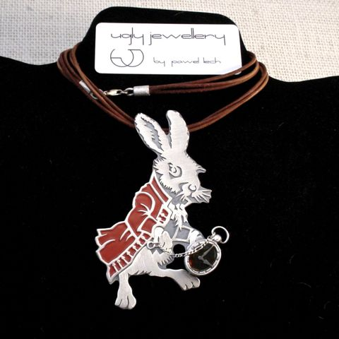 Follow,The,White,Rabbit,,Alice,|,SILVER,&,AMBER,PENDANT,With,RED,ENAMEL,Silver & Amber Pendant, enamel pendant, unique jewellery